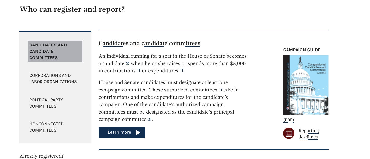 Screenshot of Federal Election Commission website, with Candidates and committees highlighted under who can register and report, with a prominent button-style link at the bottom that says learn more